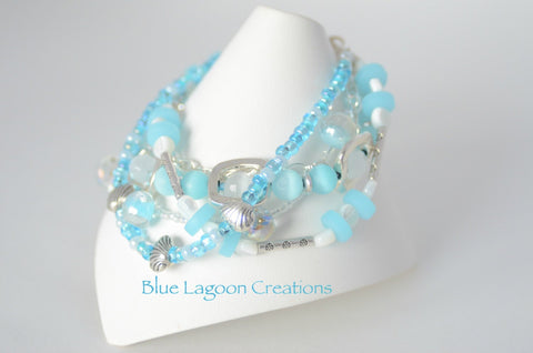 Ice Blue Multistrand Bracelet
