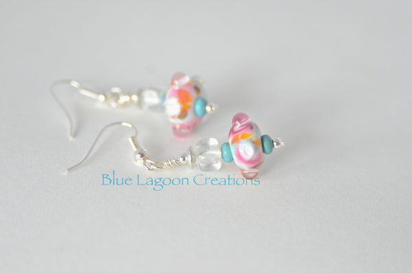 Lamp work dangle earrings