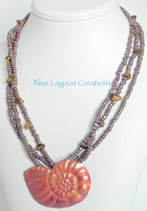 Copper Shell Pendant Multistrand Necklace