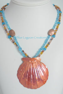 Blue 2 strand Copper Pendant Necklace