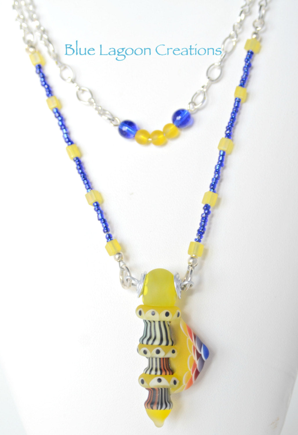 Yellow & Blue Lampwork Necklace