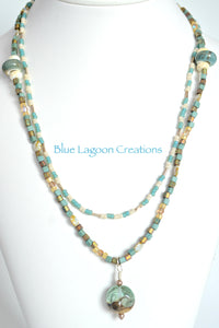 Two strand Bead and Lampwork Necklace