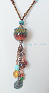 Copper and Turquoise Lampwork Bead Necklace