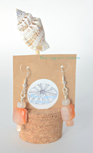 Peach Agate and Moonstone Earrings