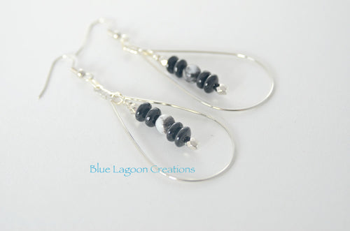 Black Drop Hoop Earrings