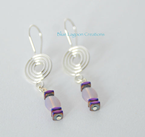 Purple Moonstone and Hematite Earrings