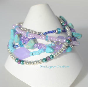 Purple and Aqua Multistrand Beaded Bracelet with Turquoise