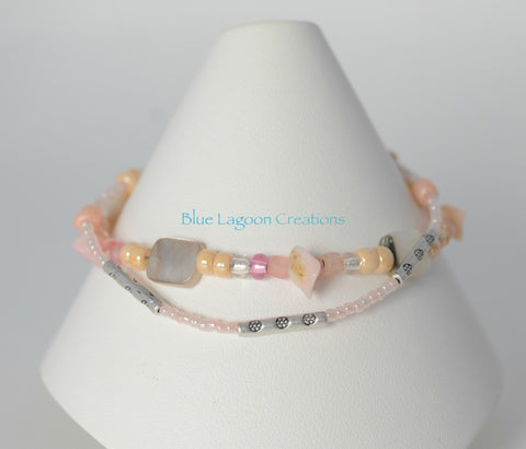 Peach Two Strand Shell Bracelet