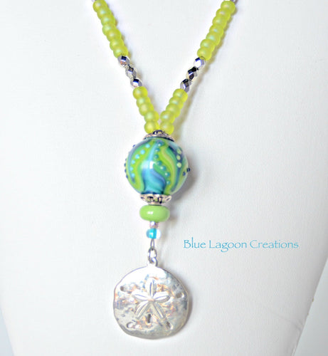 Acid Green Artisan Lampwork Bead and Sand Dollar Necklace