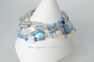 Blue and White Multi Strand Shell and Glass Bead Starfish Bracelet
