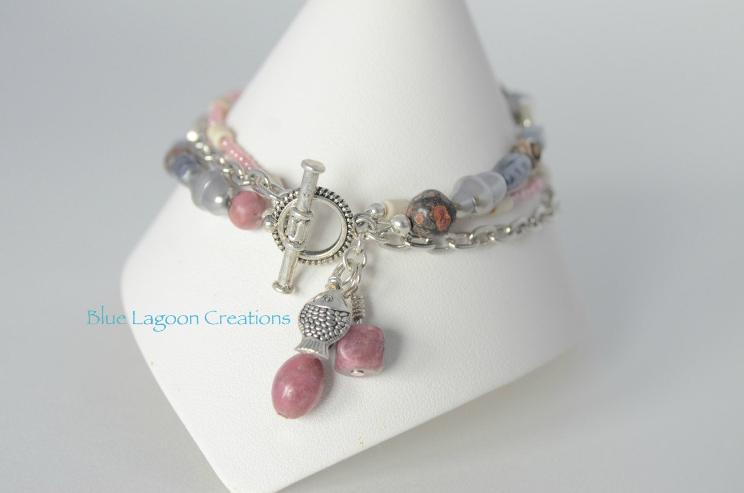 Three Strand Pink Jasper and Pearl Fish Charm Bracelet