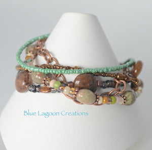 Five Strand Green and Copper Jasper Bead Starfish Bracelet