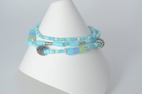 Three Strand Aqua Beaded Starfish Bracelet