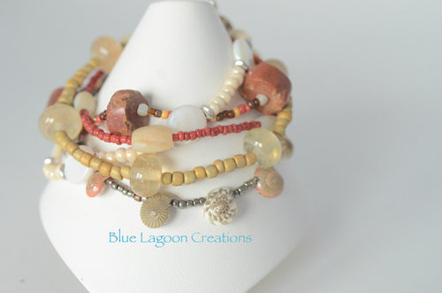 5 Strand Tribal Themed Lampwork, Shell and Stone Bead Bracelet