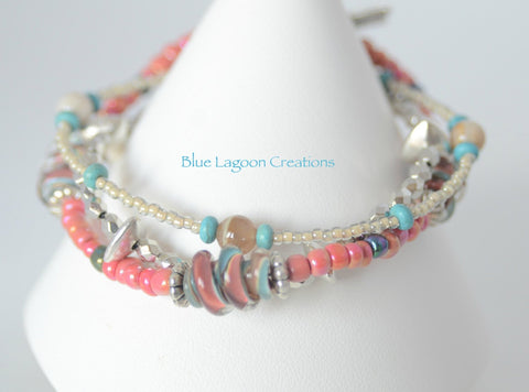 Three Strand Pink and Blue Bracelet with Lampwork Bead
