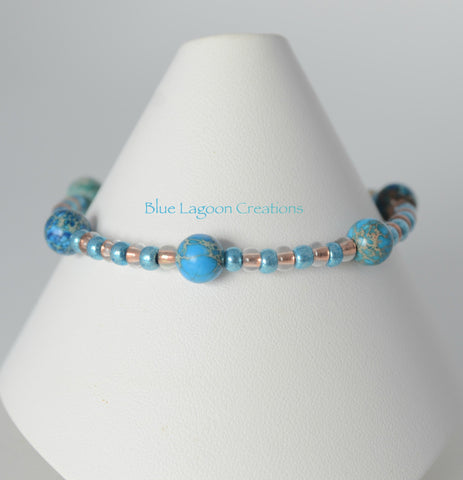 Blue Jasper and Copper Bead Bracelet with Seashell Charm