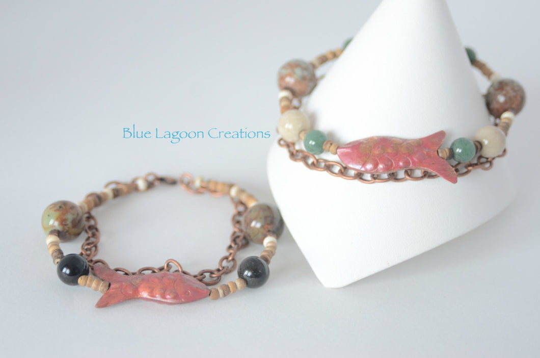 Copper and Stone Bead Fish Bracelet