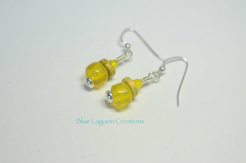 Bright Yellow Bead Earrings
