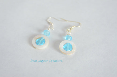 Blue Glass and Shell Bead Earrings