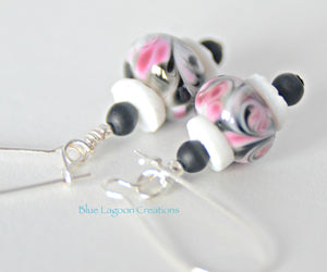 Black and Pink Lampwork and Shell Bead Earrings
