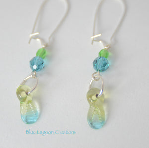 Blue and Green Glass and Crystal Earrings