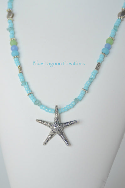 Aqua Green and Blue Starfish Pendant Necklace