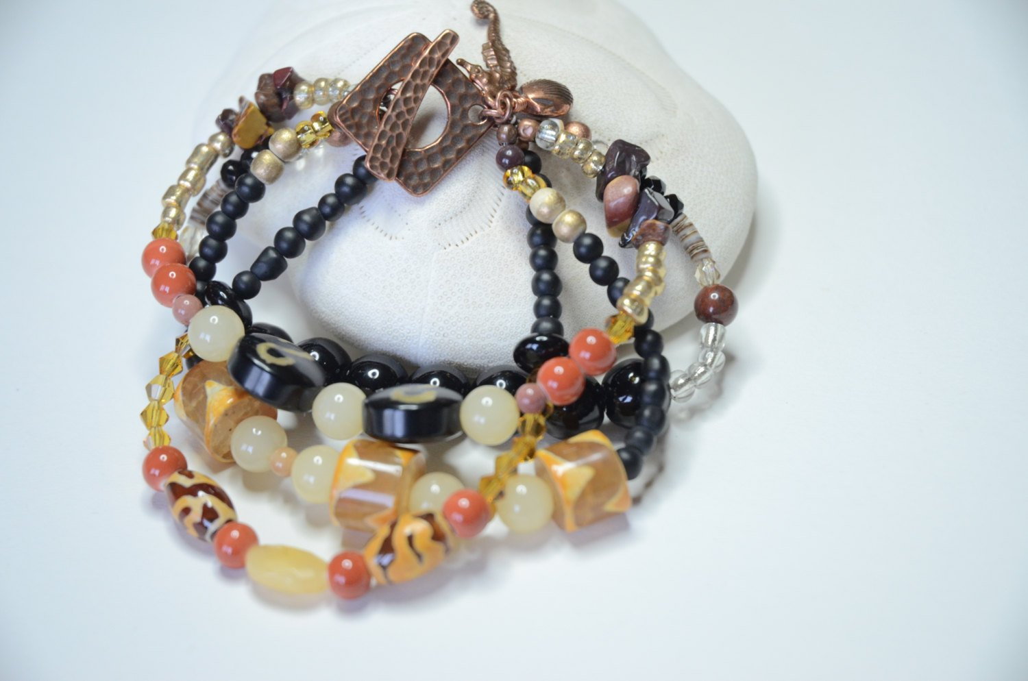Copper Multistrand Mix Bead Bracelet in Black, Orange and Yellow
