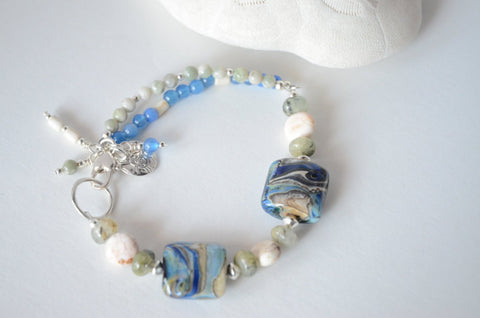 Blue and Green Lampwork Bracelet with Sterling Silver Shell Charm