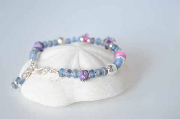 Blue, Pink and Purple Lampwork Bead Bracelet