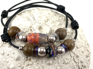 Men's Beaded Leather Bracelet with Slide Knots