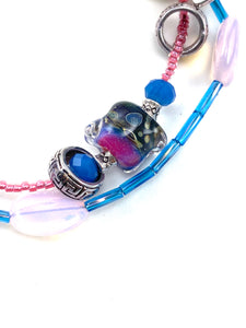 Bright Pink and Blue Two Strand Beaded Bracelet with Seashell Charm