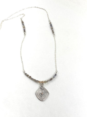 Earth tone Crystal and Agate Necklace with Sterling Pendant