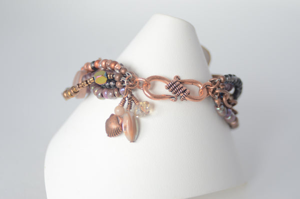 Purple Luster & Copper Multistrand Bracelet