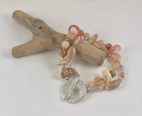 Two Strand Peach Lampwork Bracelet with Sterling Clasp