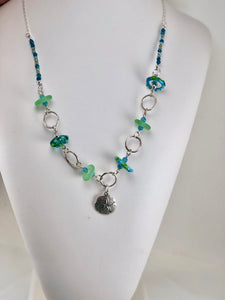 Sea Green and Aqua Sand Dollar Necklace