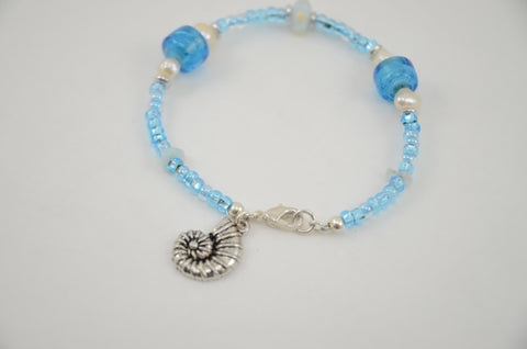 Ocean Blue Bracelet with Glass Beads, Pearls and Shell