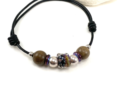 Men's Adjustable Beaded Leather Bracelet w/ black & Purple beads