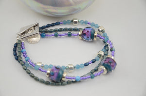 Three Strand Aqua and Purple Glass Bead Bracelet