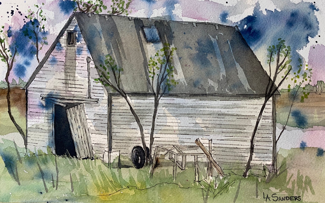 The Back Shed, Original Watercolor
