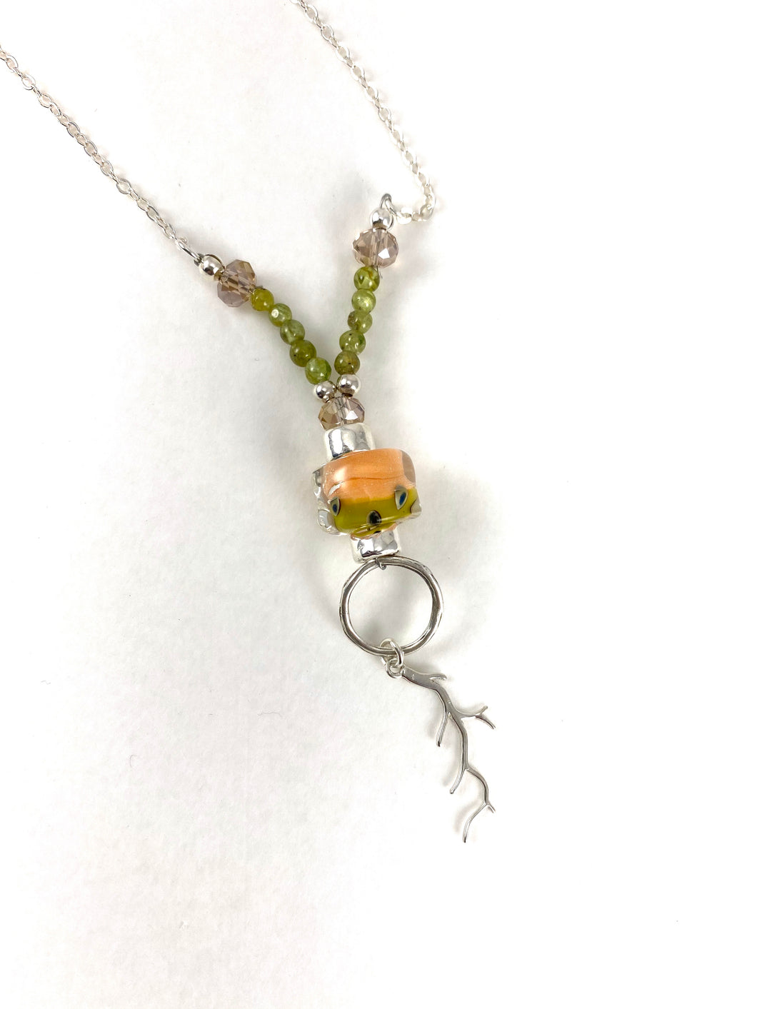 Peach and Green Coral Branch Necklace