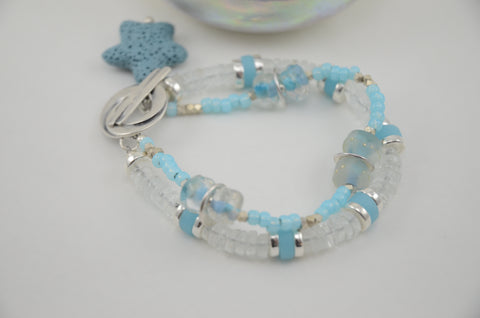 Two Strand Ocean Blue Bracelet with Starfish