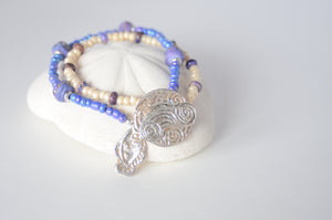 Two Strand Purple Bracelet with Fish Charm