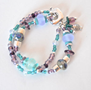 Aqua & Purple Two Strand Bracelet with Quinlan Beads