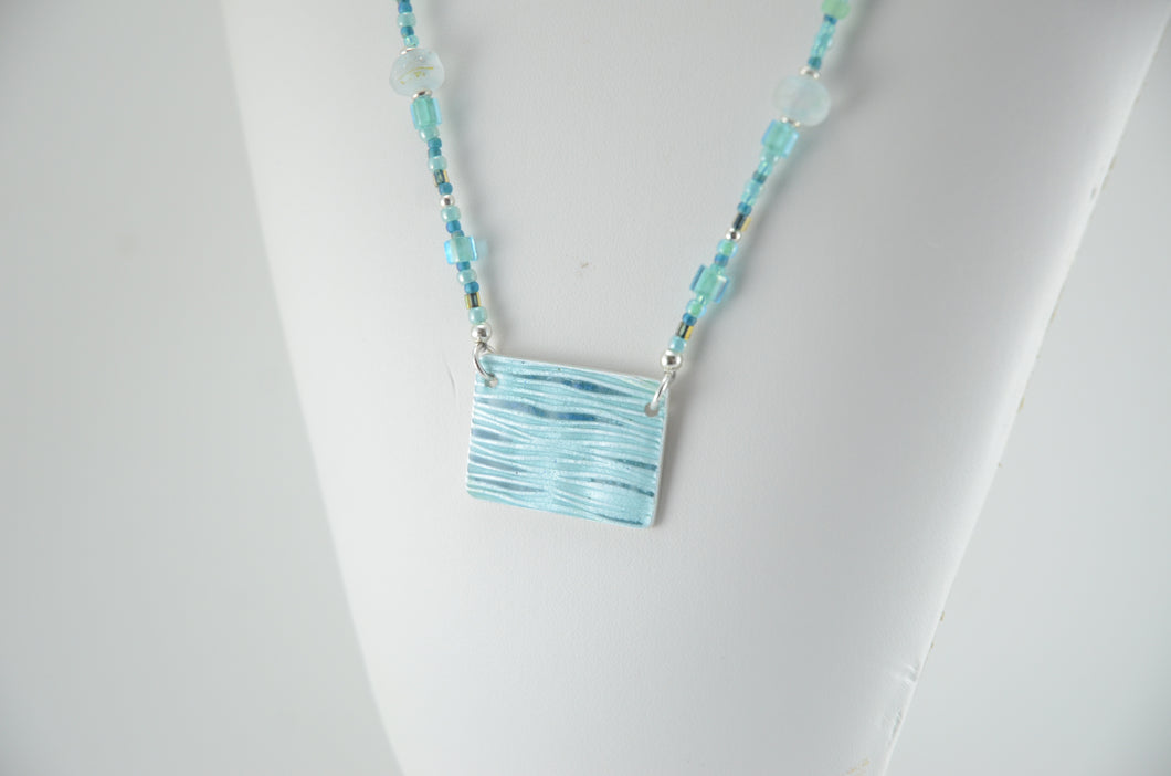 Blue Green Enameled Pendant and Lampwork Necklace