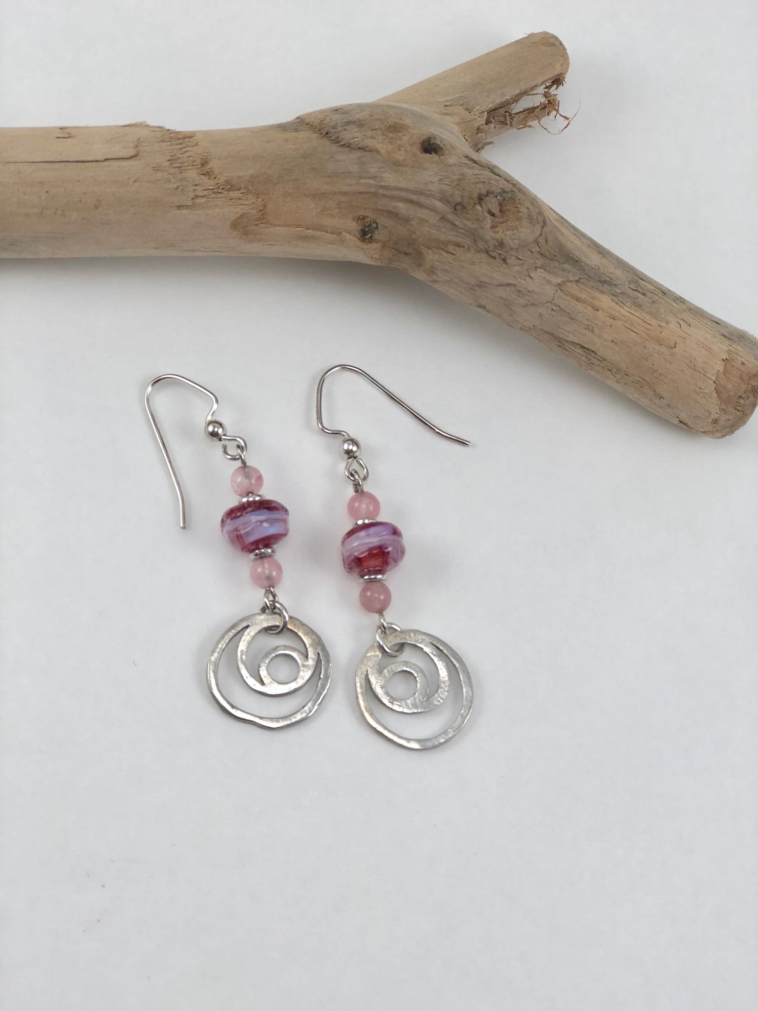 Pink Artisan Bead Earrings with Sterling Silver Dangles