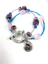 Load image into Gallery viewer, Bright Pink and Blue Two Strand Beaded Bracelet with Seashell Charm