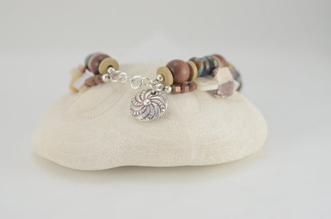 Double Strand Stone and Wood Bead Bracelet