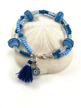 Load image into Gallery viewer, Two Strand Greek Mati Charm Bracelet