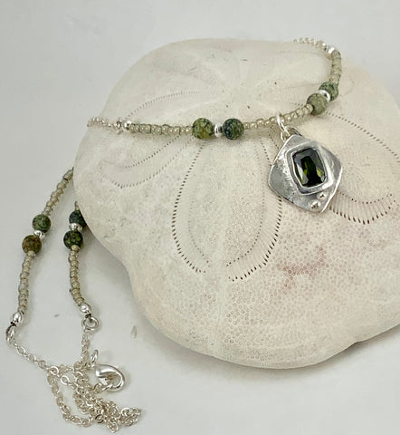 Green Stone Charm Beaded Necklace
