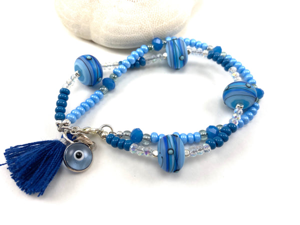 Two Strand Greek Mati Charm Bracelet